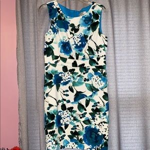 Floral Sleeveless Scallop Front Dress